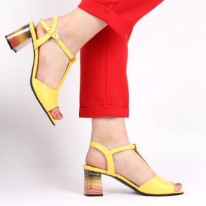 Sandale pentru dame din piele naturală cod 1221 Galben - Sandale pentru dama din piele naturală  Închidere prin baretă  Calapod comod - Deppo.ro