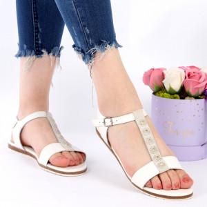 Sandale pentru dame din piele naturală cod 160301 White