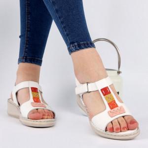 Sandale pentru dame din piele naturală cod 168850 White