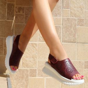 Sandale pentru dame din piele naturală cod PL2014 Wine