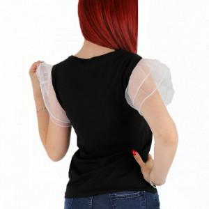 Tricou pentru dame cod BGA0 Black - Tricou pentru dame Mâneci bufante  Conferă lejeritate și o ținută casual - Deppo.ro