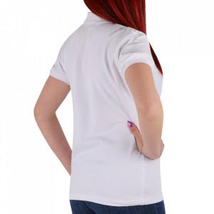 Tricou pentru dame cod TRC1 White - Tricou pentru dame  Model cu guler și închidere prin nasturi - Deppo.ro