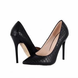 Pantofi cu toc cod HR1999 Negri - Pantofi cu toc ascuțit din piele ecologică întoarsă - Deppo.ro