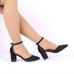 Pantofi cu toc cod 30875 Negri - Pantofi decupați tip sanda cu vârf și toc ascuțit din piele ecologică, foarte confortabili cu un calapod comod - Deppo.ro