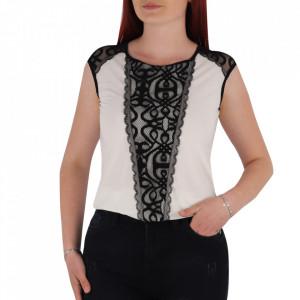 Bluză pentru dame cu mânecă scurtă cod BZ65 White