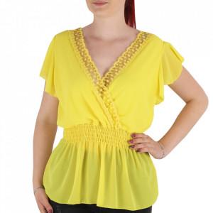 Bluză pentru dame tip cămășuță cod 1938 Yellow