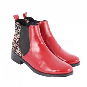 Botine din piele naturală cod 1183 Red - Botine cu toc din piele naturală Model deosebit de frumos - Deppo.ro