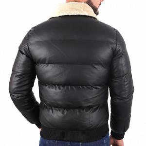 Geacă Philip Black - Geacă cu guler îmblănit din piele ecologică pentru iarnă/primavară, interior căptuşit buzunare laterale și închidere cu fermoar. - Deppo.ro