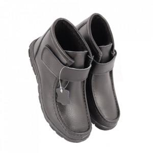 Ghete din piele naturală cod PL-2121 Black - Ghete din piele naturală cu inchidere prin scai, stil casual. - Deppo.ro