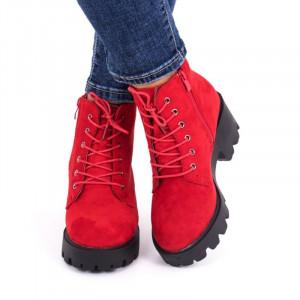 Ghete pentru dame cod FH011 Roși - Ghete din piele ecologică întoarsă cu închidere prin șiret și fermoar - Deppo.ro