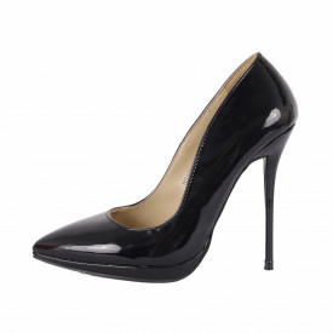 Pantofi Cu Toc Aleine Negri - Pantofi din piele ecologică lacuită cu tocul de 12 cm şi vârf ascuţit - Deppo.ro