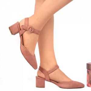 Pantofi cu toc Bej Cod 0025 - Pantofi pentru dame din piele ecologică întoarsă cu închidere prin baretă Conferă lejeritate și eleganță - Deppo.ro