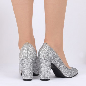 Pantofi cu toc cod 540414F Arginti - Pantofi din piele ecologică cu toc gros  Vârf rotund , foarte confortabili potriviți pentru birou sau evenimente speciale. - Deppo.ro