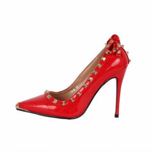 Pantofi cu toc cod A1136 Roși - Pantofi roşii din piele ecologică lacuită cu tocul de 11 cm şi vârf ascuţit - Deppo.ro