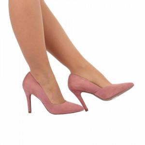Pantofi cu toc cod A55055 Roz - Pantofi cu toc ascuțit din piele ecologică întoarsă cu un design unic, fii in pas cu moda si străluceste la urmatoarea petrecere. - Deppo.ro