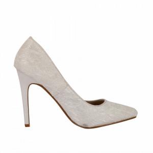 Pantofi cu toc cod BF6A7276 Albi - Pantofi cu toc ascuțit din piele ecologică întoarsă - Deppo.ro