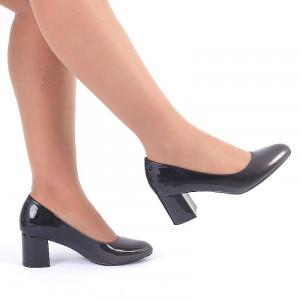 Pantofi cu toc cod CA722 Negri - Pantofi cu tog gros din piele ecologică lăcuită de înalta calitate - Deppo.ro