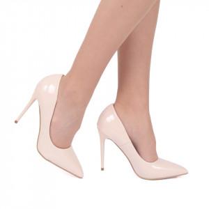 Pantofi cu toc cod EK0097 Bej - Pantofi din piele ecologică, cu vârf ascuţit şi toc subţire, foarte confortabili cu un calapod comod - Deppo.ro