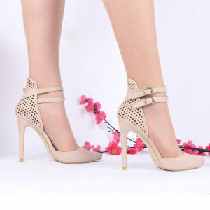 Pantofi Cu Toc cod GH39 Nude - Pantofi cu toc din piele ecologică cu închidere prin baretă Fii în pas cu moda şi străluceşte la următoarea petrecere. - Deppo.ro