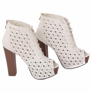 Pantofi cu toc cod JB203 Albi
