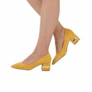 Pantofi cu toc cod OD0080 Galbeni - Pantofi cu toc gros din piele ecologică întoarsă cu un design unic  Model deosebit de frumos pe toc Fi in pas cu moda si străluceste la urmatoarea petrecere. - Deppo.ro