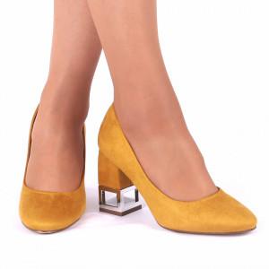 Pantofi cu toc cod OD0131 Galbeni - Pantofi din piele ecologică întoarsă de înaltă calitate cu toc pătrat - Deppo.ro