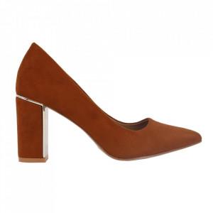 Pantofi cu toc cod OD0262 Camel