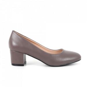 Pantofi cu toc din piele ecologică cod 3008-3 Grey