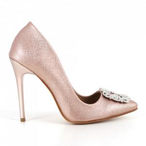 Pantofi cu toc din piele ecologică cod 5600 Pudra