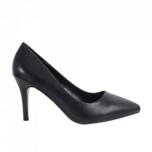 Pantofi cu toc din piele ecologică cod C-13 Black