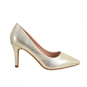 Pantofi cu toc din piele ecologică cod C-58 Gold