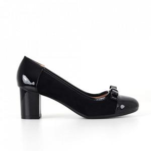 Pantofi cu toc din piele ecologică cod C-97A Black