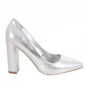 Pantofi cu toc din piele ecologică cod OD0138 Silver
