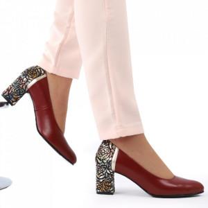 Pantofi cu toc din piele naturală cod 1206 Roșu