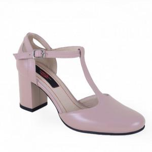 Pantofi cu toc din piele naturală cod 223 Cafeniu