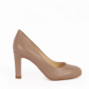Pantofi cu toc din piele naturală cod 4072 Beige