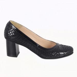 Pantofi cu toc din piele naturală cod 751 Black