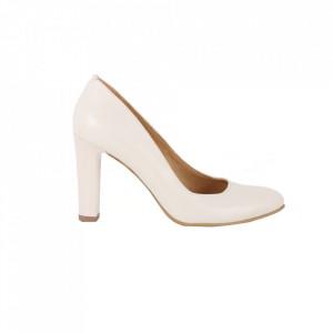 Pantofi cu toc din piele naturală cod 86-1 Crem