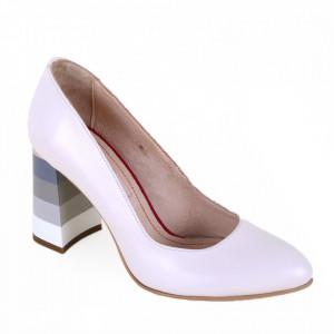 Pantofi cu toc din piele naturală cod 86 Crem