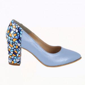 Pantofi cu toc din piele naturală cod P786 Blue