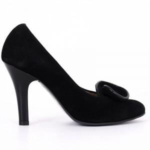 Pantofi Cu Toc din piele naturală cod RAX818 Negri - Pantofi din piele naturală întoarsă cu toc subțire cu vârf rotunjit, confortul purtării este sporit de tălpicul din piele ecologică - Deppo.ro