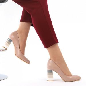 Pantofi cu toc din piele naturală cod S21 Cafe