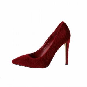 Pantofi Cu Toc Francess Wine Red - Pantofi din piele ecologică, cu vârf ascuţit şi toc subţire, foarte confortabili cu un calapod comod - Deppo.ro