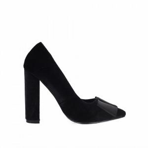 Pantofi Cu Toc Greg Black - Pantofi cu vârf rotund din piele ecologică întoarsă, foarte confortabili cu un calapod comod - Deppo.ro