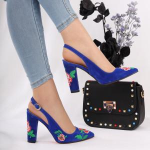 Pantofi Cu Toc Joselyn Blue - Pantofi cu toc din piele ecologică cu un design unic. Fii în pas cu moda şi străluceşte la următoarea petrecere. - Deppo.ro