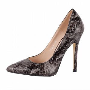 Pantofi Cu Toc Kathleen Black - Pantofi din piele ecologică, cu vârf ascuţit şi toc subţire, foarte confortabili cu un calapod comod - Deppo.ro