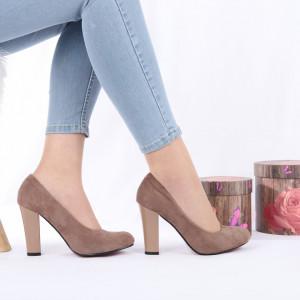 Pantofi Cu Toc Lilah - Pantofi cu toc gros și vârf rotund din piele ecologică întoarsă, foarte confortabili potriviți pentru birou sau evenimente speciale. - Deppo.ro