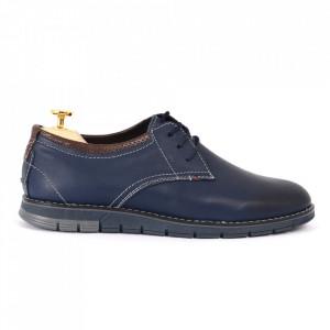 Pantofi din piele naturală albaştri cod 3220 - Pantofi pentru bărbaţi din piele naturală, model simplu, finisaje îngrijite cu undesign deosebit - Deppo.ro