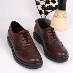 Pantofi din piele naturală bordo Cod 2499