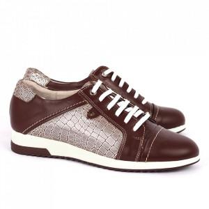 Pantofi din piele naturală bordo Cod 486